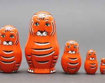 Tiger Nesting dolls matryoshka set  of  5 pc Free Shipping plus free gift!