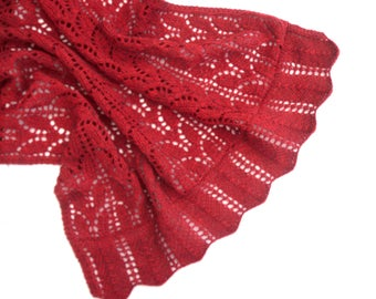 Red Lace shawl , hand knitted alpaca / merino wrap , original design , hand knit lacy bed throw , women's wear , fashion gift for her