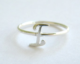 Handcrafted Silver 925 Letter I Ring.