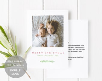 Printable Christmas Card, PDF Holiday Card Template, Instant Download, Photo Greeting Cards, baby, merry christmas and a happy new year