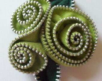 Chartreuse Green Abstract Floral Brooch / Zipper Pin by ZipPinning 2983