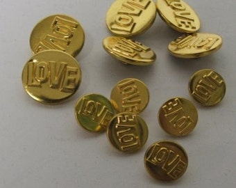 One dozen Vintage Gold Brass Love buttons