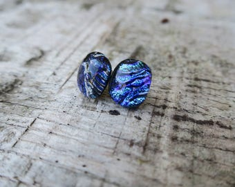 Blue/ green textured dichroic glass earrings