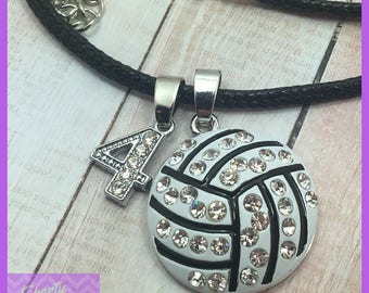 Volleyball Gifts Volleyball Necklace with Numbers - Custom Volleyball Jewelry Large Pendant - Volleyball Mom - Girls Volleyball Player