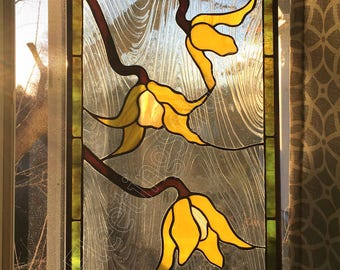 Stained Glass Panel Yellow Bell Clematis Flowers Stained Glass Window Panel