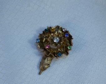 Beautiful Vintage Gold Vermeil over Sterling Rhinestone Crusted Carnation Brooch