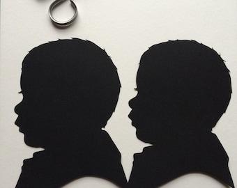 Two Custom Hand Cut Silhouette Portraits Backing on Custom Silhouette 8 by 10 / Custom Silhouette 8x10