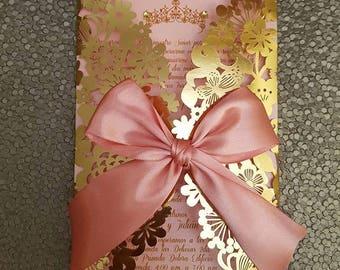 Floral Laser Cut Invitation, Lace Laser cut Wedding Invitation, Quinceanera Invitation, Crown invitation, Gold invitation, Baby Shower