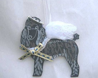 Hand-Painted POODLE BLACK Feathered Wing Angel Wood Ornament...Artist Original