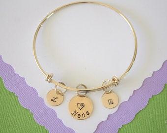 Grandma Bangle Bracelet Gold, Initial Bangle, Expandable, Gold Filled, Nana Bracelet, Mother Charm, Friendship, Monogram Bracelet, BFF