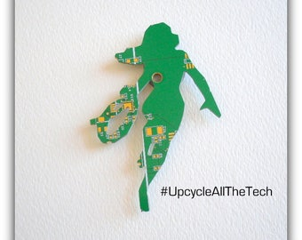 Wonder Woman Silhouette Cut Out of Recycled Circuit Board - Choose Option: Magnet, Pin or Hanging Ornament