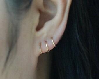 14K Solid Gold Earring,14k Gold Earrings,20gauge Solid Gold earrings,Cartilage Hoop Earrings,Cartilage Earrings,Nose Ring,piercing,Ear Lobe