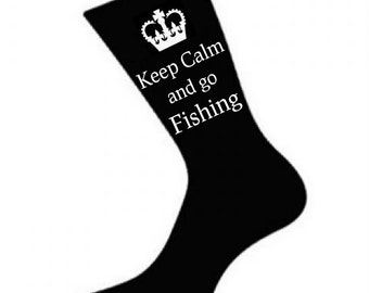 Mens Keep Calm and go Fishing Socks. A fun Unique thoughtful Gift Idea for your Dad, Husband, Son, Grandad *Various colours*