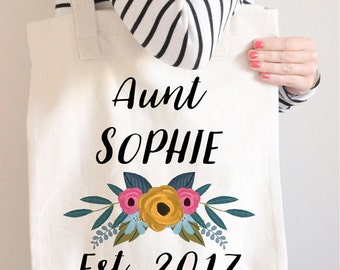 Personalized Aunt Gifts, Aunt Tote Bag, Aunt Announcement, Aunt Pregnancy Announcement, Aunt to Be Gift, Gifts for Aunts, Gift for Auntie,
