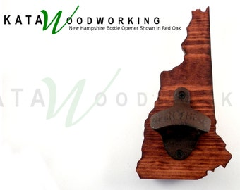 New Hampshire Wood Cut-out Bottle Opener - Wall Mount - Handmade!
