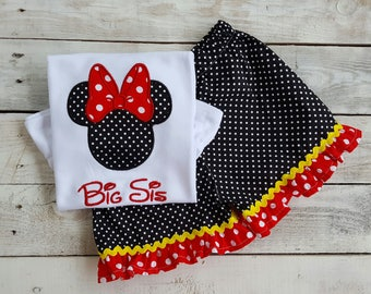 Minnie Mouse Sis Outfit w/bow, Sample Sale, Disney Ruffle Shirt, Baby Girl, Sibling embroidery, Big sister Little Sister Shirt, embroidered