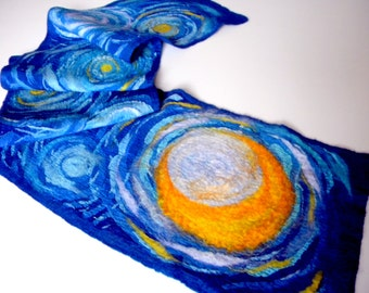 Wool scarf Starry night Van Gogh inspiration hand painted scarf Blue winter scarf Artist gift Nunofelted shawl Impressionism Art to wear