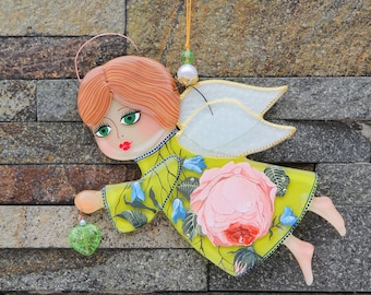 Floral Angel with heart; Fused Glass hand painted Wall Hanging; Home Decor; Valentine's gift; Wall decor; Handmade