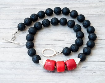 Lava Stone and Natural Coral Necklace, Red and Black Chunky Boho Necklace,  Unique Necklace, Santorini Lava Jewelry, Red Coral Jewelry