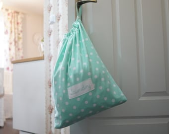 Laundry bag, Big size, Laundry tote, Laundry bag for college, dirty clothes bag, dots bag, 60 cm x 48 cm