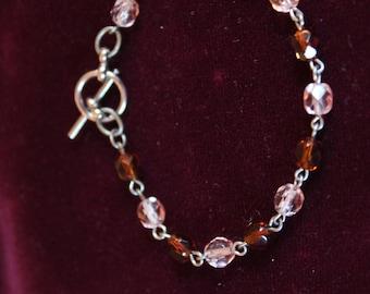 Rose & Umber Crystal Bead Bracelet