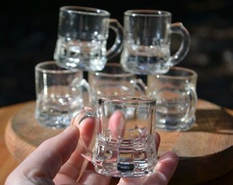Set of 6 Vintage Clear Glass Shot Glasses by Federal Glass Co.