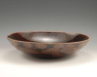 Large Shallow Wide Pottery Bowl Tenmoku Black Brown Glaze,  Dinner Bowl, Grain Bowl Rice Bowl, Footless Bowl, Lap Bowl