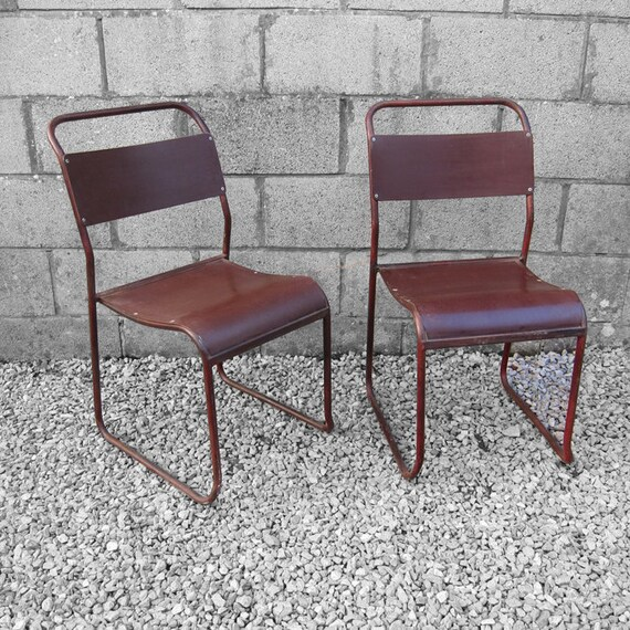 Industrial School Chair Stacking Vintage Seat Metal Frame