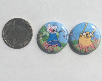 Adventure Time Buttons // Best Friends Buttons // Jake and Finn Buttons // Matching Buttons // Adventuretime Time Pins