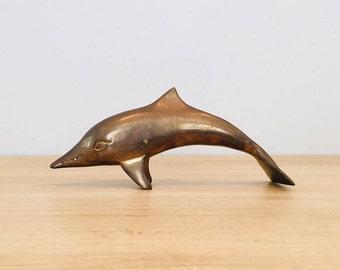 Vintage Nautical Brass Dolphin Sculpture
