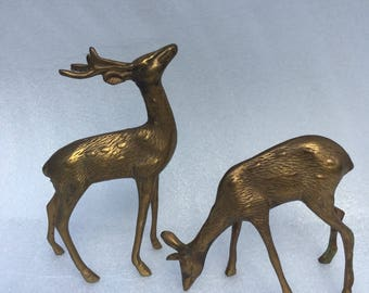 Vintage Mid Century Modern Brass deer, Vintage Set of 2 Brass deer, standing deer, Buck and doe, box B