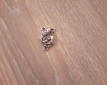 silver plated charm mother and child