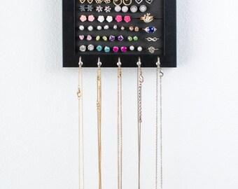 Hanging Jewelry Frame - 5x7 Black Frame - Foam - Necklace Hooks