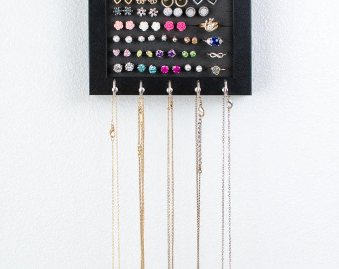 Hanging Jewelry Frame - 5x7 Black Frame - Foam - Necklace Hooks