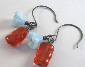 Sweet Nectar.. Coral pink glass, baby blue bellflower & antiqued silver earrings