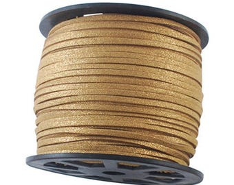 Suede cord 3mm sold per 1 M gold