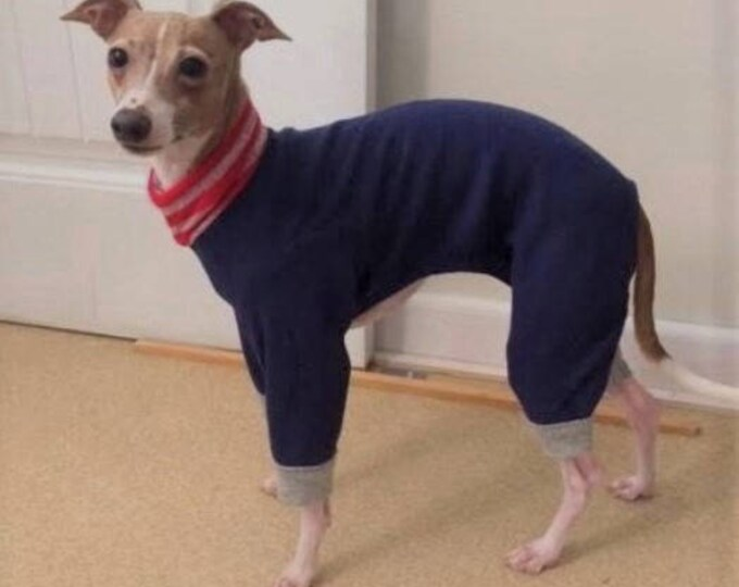 "Dog Pajamas. ""Navy Blue Fleece Pajama"" - Italian Greyhound and small dog sizes."