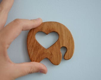 Eco friendly toy - Teething toy - Elephant - Wooden teether - Wooden Toy - Montessori materials - Teething ring - Sensory toy - Waldorf