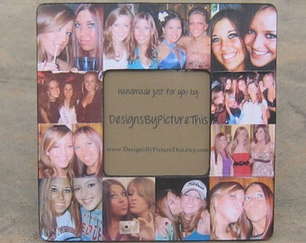 """Best Friends Photo Collage Frame, Personalized Maid of Honor Picture Frame, Unique Sister Gift, Custom Collage Bridesmaid Gift, 8"""" x 8"""""""