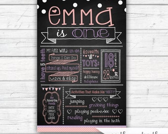 Some Bunny is One First Birthday Chalkboard Sign, Bunny Birthday, Personalized Chalkboard Poster, Pink and Purple, Printed or Printable