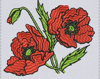 Red Poppies Machine embroidery 2 sizes design for instant download