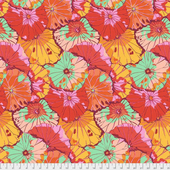 LOTUS LEAF Citrus Kaffe Fassett  PWGP029.CITRU Sold in 1/2 yd increments