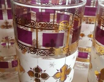 Vintage glassware/carver?/cranberry and gold/bohemian glasses/set of 8/drinking glasses/bar glasses
