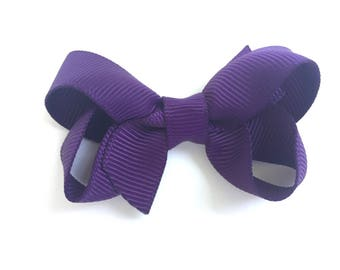 Dark purple hair bow - hair bows, bows, baby bows, hair bows for girls, pigtail bows, toddler bows, boutique bows, small bows, hairbows