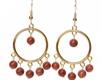 Goldstone Gold Hoop Earrings