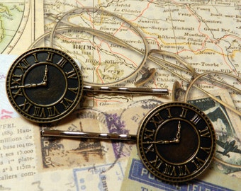 Handcrafted Steampunk Clock Hairpins Set of 2 Bobby Pins Makes A Perfect Gift
