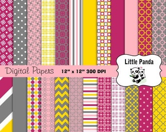 60% OFF SALE Yellow Pink Gray Digital Paper Pack 24 jpg files 12 x 12  - Instant Download - D348