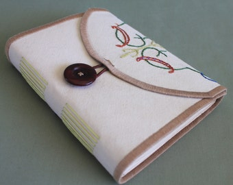 Tea Time Vintage Linen Softcover Embroidered Journal 03 by PrairiePeasant