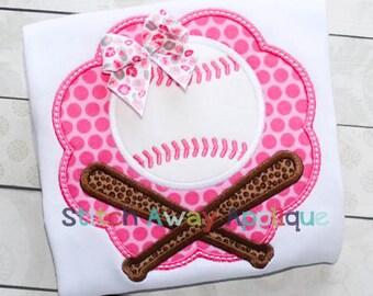 Crossed Bat Baseball Scallop Patch Machine Applique Design