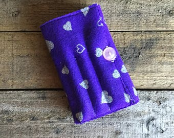 Crayon and sketch pad holder, Great travel or just a day out - Purple with Heart